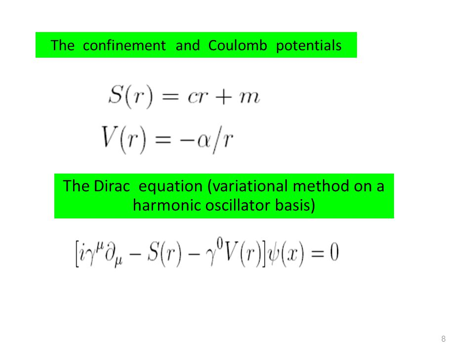The confinement and Coulomb potentials