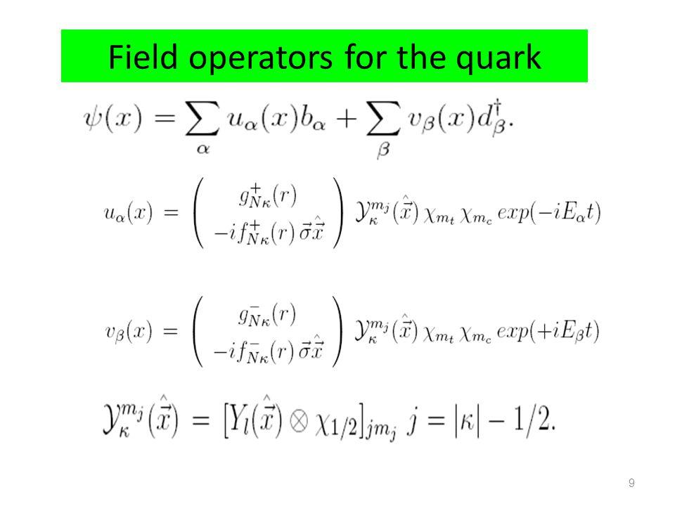 Field operators for the quark