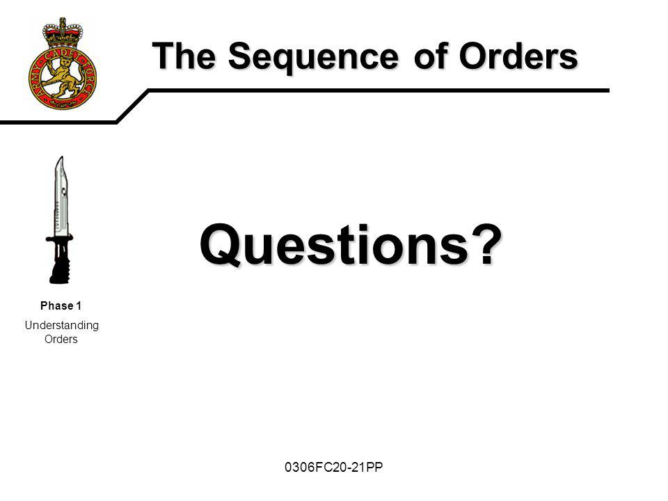 Questions The Sequence of Orders 0306FC20-21PP Phase 1