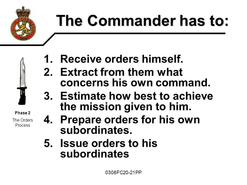The Commander has to: Receive orders himself.