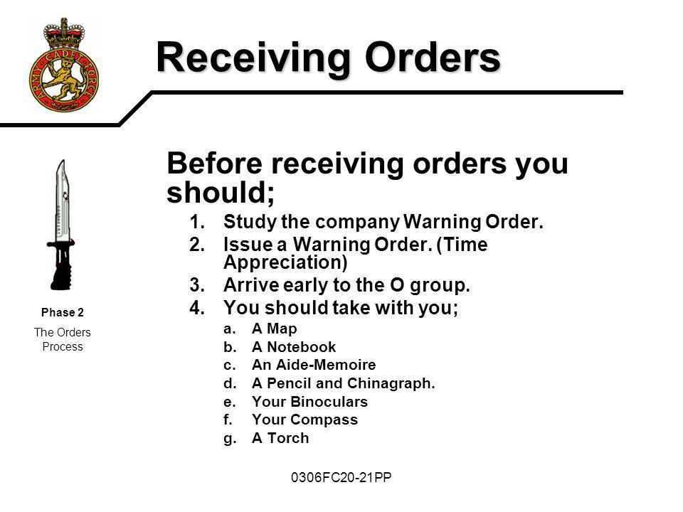 Receiving Orders Before receiving orders you should;