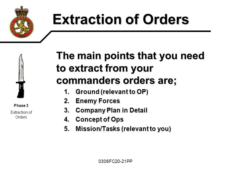 Extraction of Orders The main points that you need to extract from your commanders orders are; Ground (relevant to OP)
