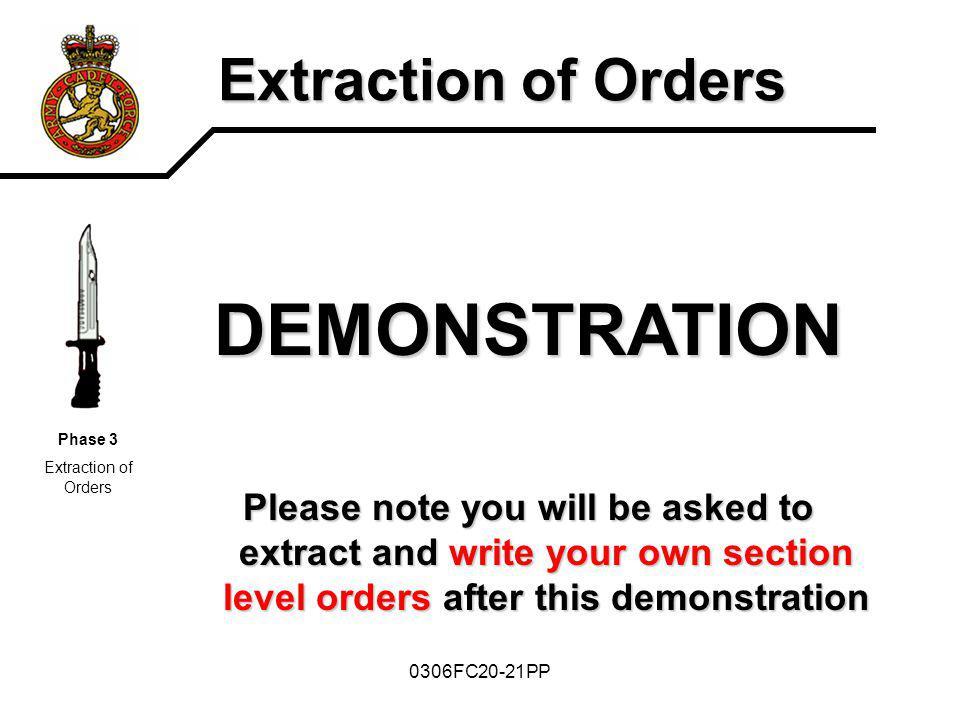 DEMONSTRATION Extraction of Orders