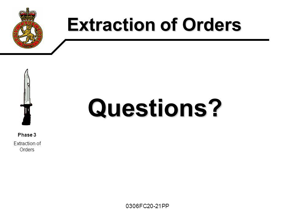 Questions Extraction of Orders 0306FC20-21PP Phase 3
