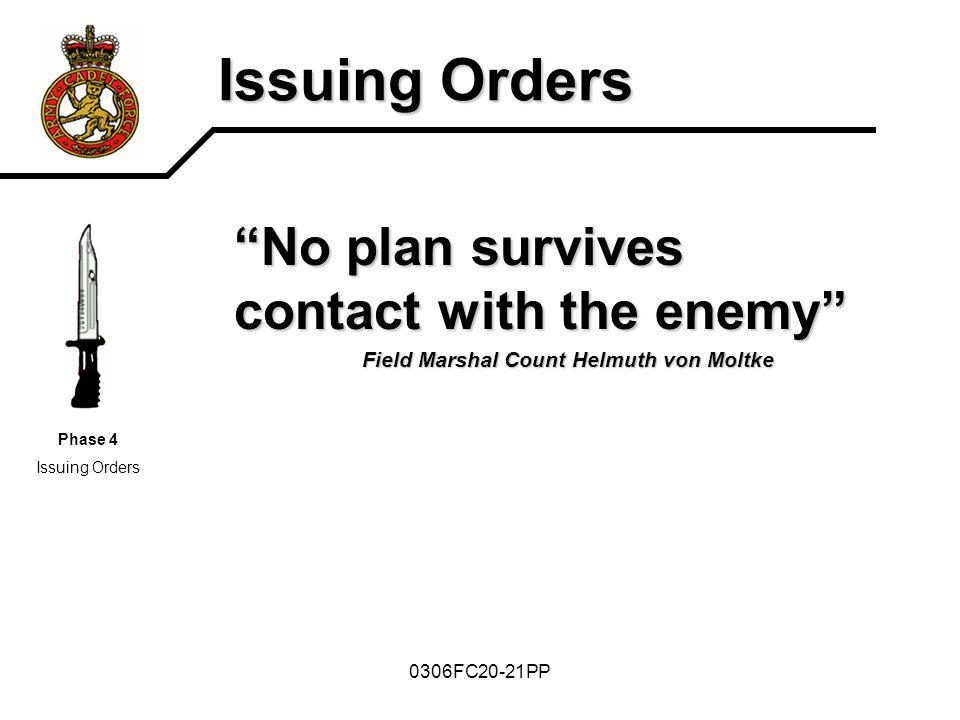 Issuing Orders No plan survives contact with the enemy