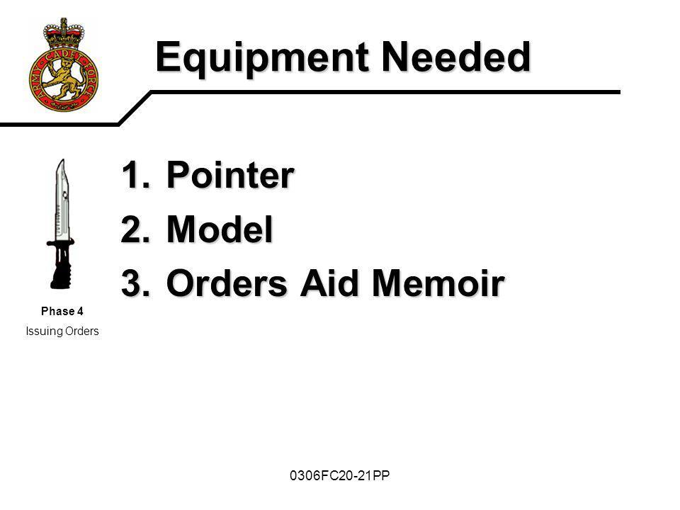Equipment Needed Pointer Model Orders Aid Memoir 0306FC20-21PP Phase 4