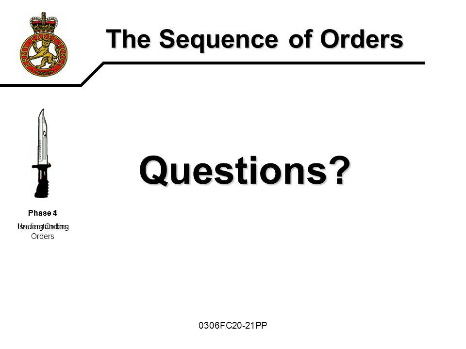 Questions The Sequence of Orders 0306FC20-21PP Phase 4 Issuing Orders