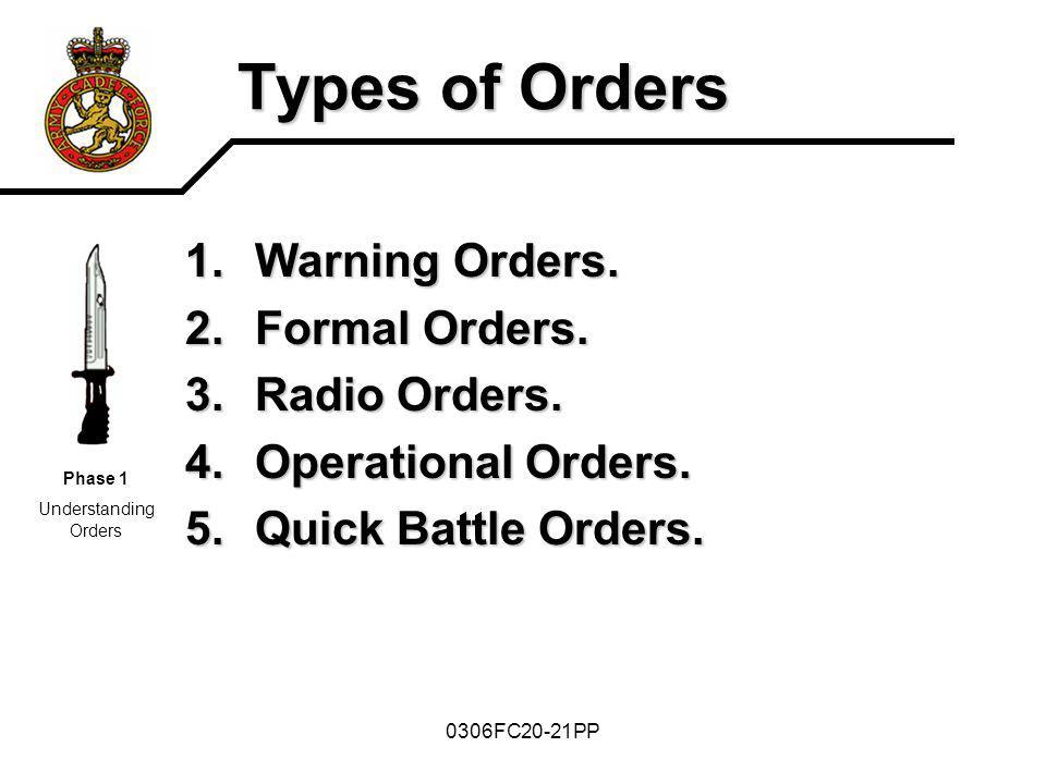 Types of Orders Warning Orders. Formal Orders. Radio Orders.