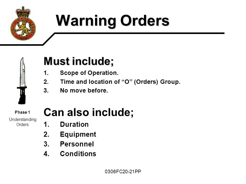 Warning Orders Must include; Can also include; Duration Equipment