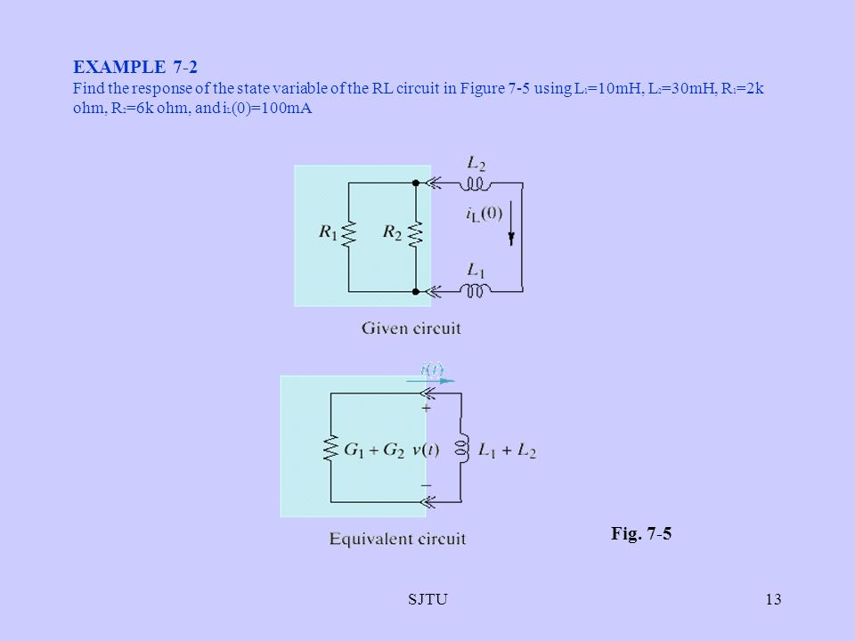 EXAMPLE 7-2 Find the response of the state variable of the RL circuit in Figure 7-5 using L1=10mH, L2=30mH, R1=2k ohm, R2=6k ohm, and iL(0)=100mA.