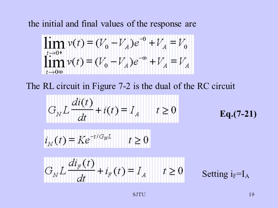 the initial and final values of the response are