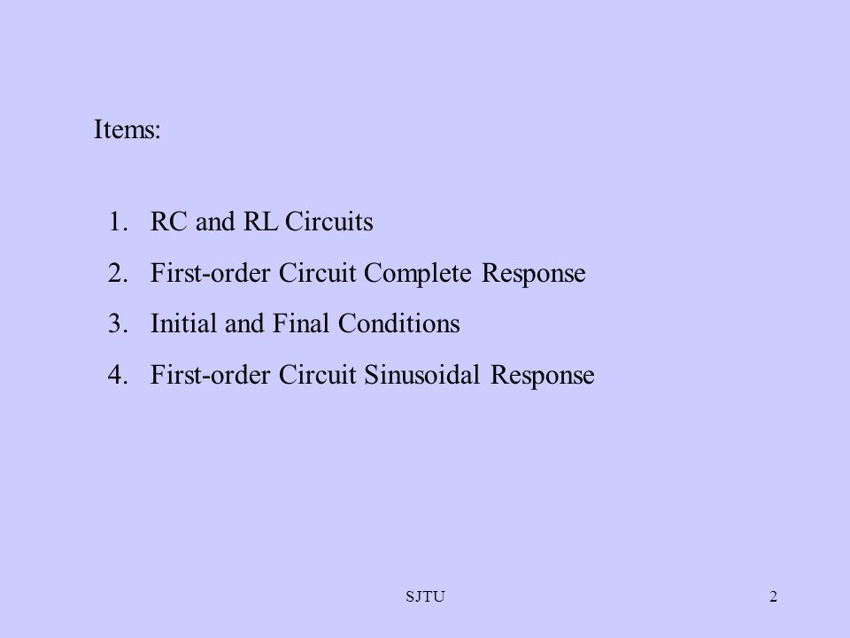 First-order Circuit Complete Response Initial and Final Conditions