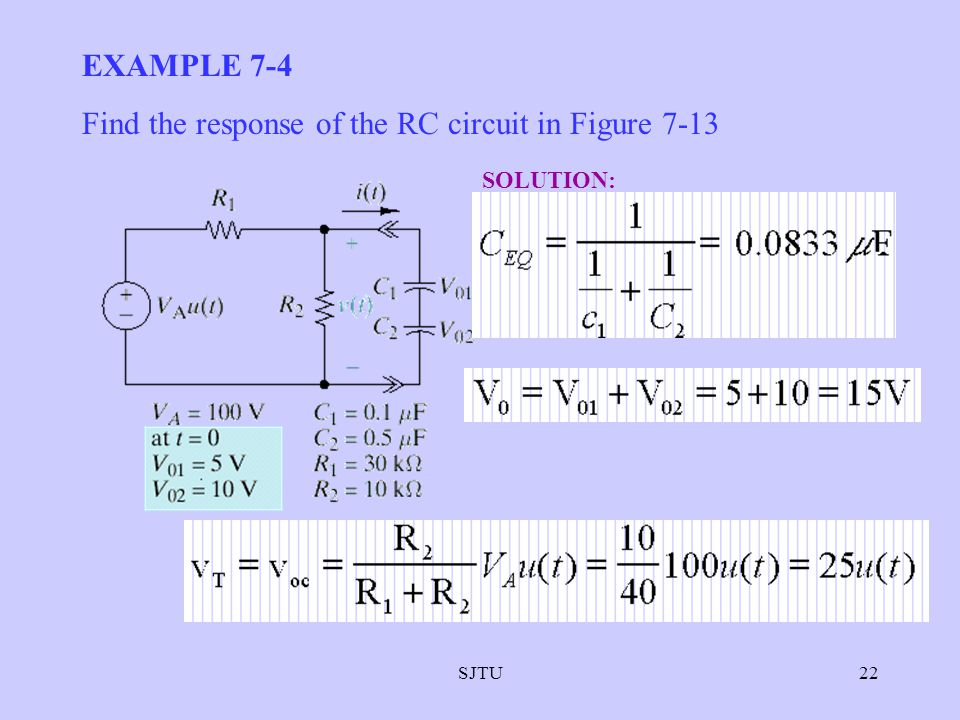Find the response of the RC circuit in Figure 7-13