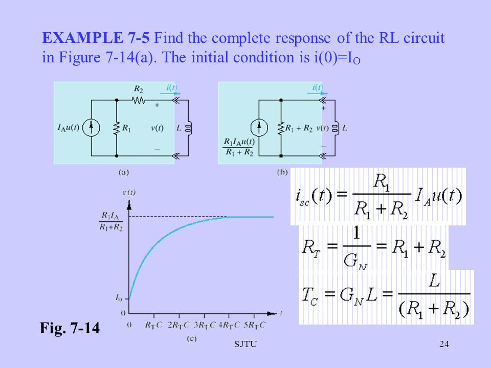 EXAMPLE 7-5 Find the complete response of the RL circuit in Figure 7-14(a). The initial condition is i(0)=IO