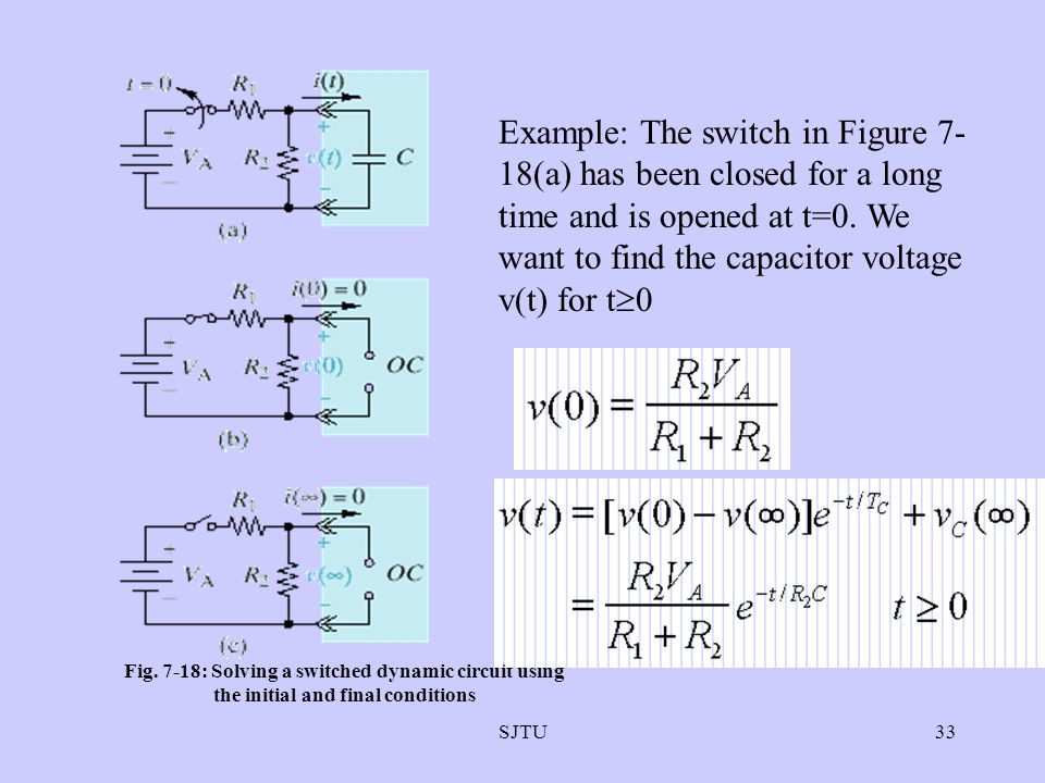 Example: The switch in Figure 7-18(a) has been closed for a long time and is opened at t=0. We want to find the capacitor voltage v(t) for t0