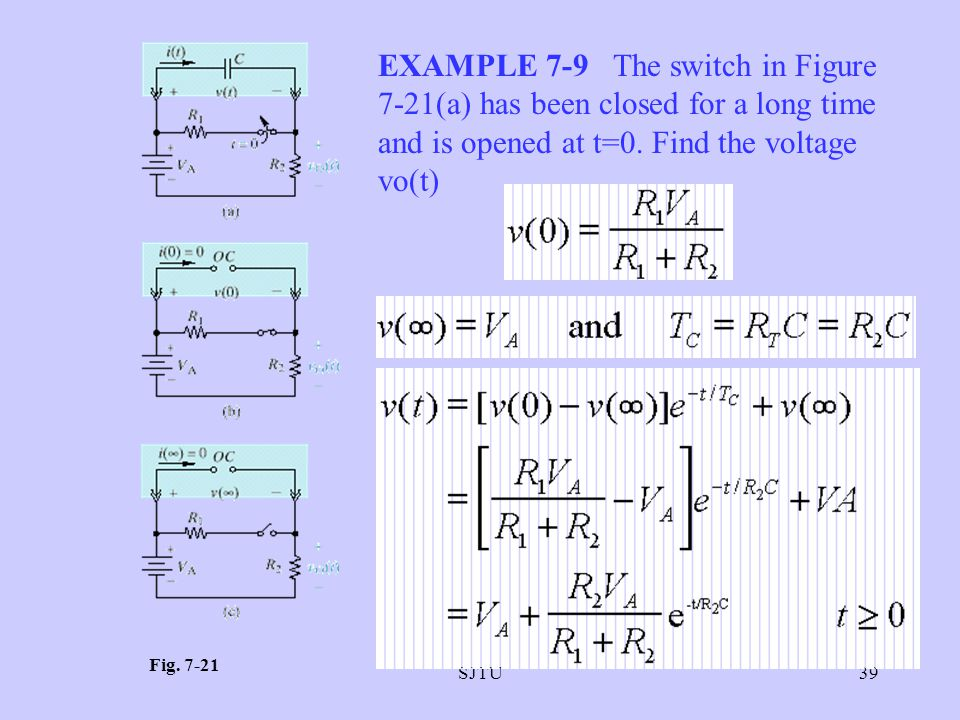 EXAMPLE 7-9 The switch in Figure 7-21(a) has been closed for a long time and is opened at t=0. Find the voltage vo(t)