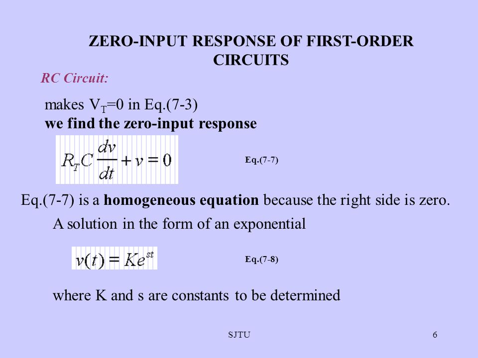 ZERO-INPUT RESPONSE OF FIRST-ORDER CIRCUITS