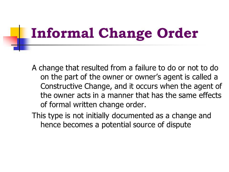 Informal Change Order