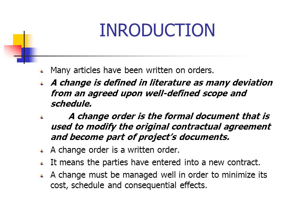 INRODUCTION Many articles have been written on orders.