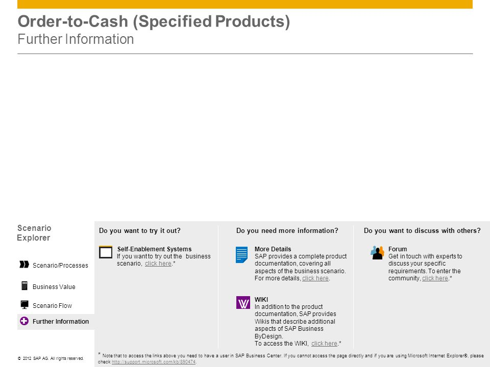 Order-to-Cash (Specified Products) Further Information