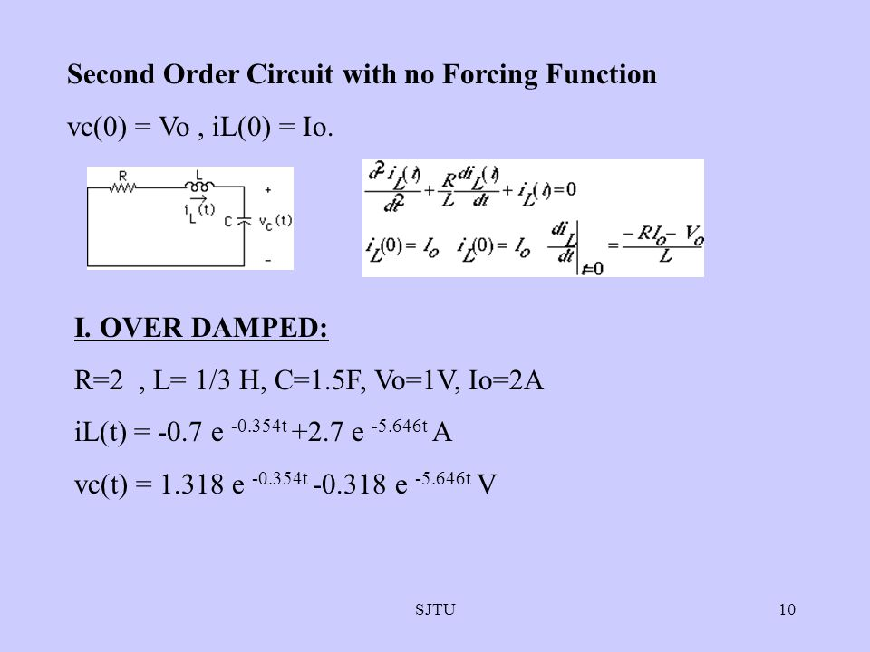 Second Order Circuit with no Forcing Function vc(0) = Vo , iL(0) = Io.