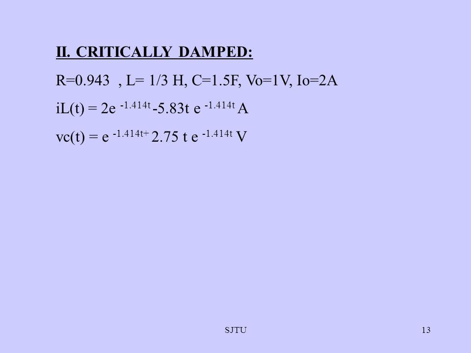 II. CRITICALLY DAMPED: R=0.943 , L= 1/3 H, C=1.5F, Vo=1V, Io=2A