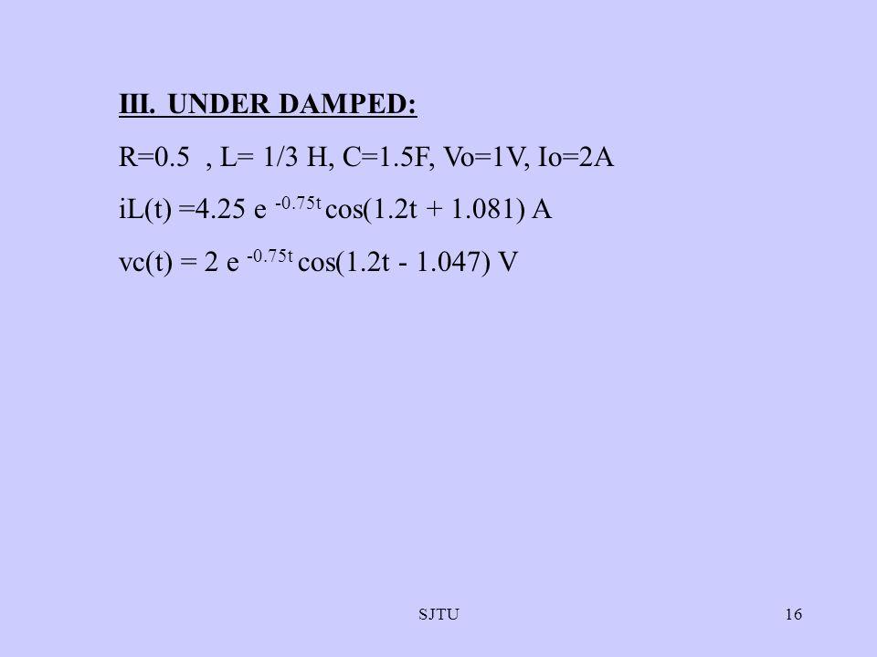 III. UNDER DAMPED: R=0.5 , L= 1/3 H, C=1.5F, Vo=1V, Io=2A