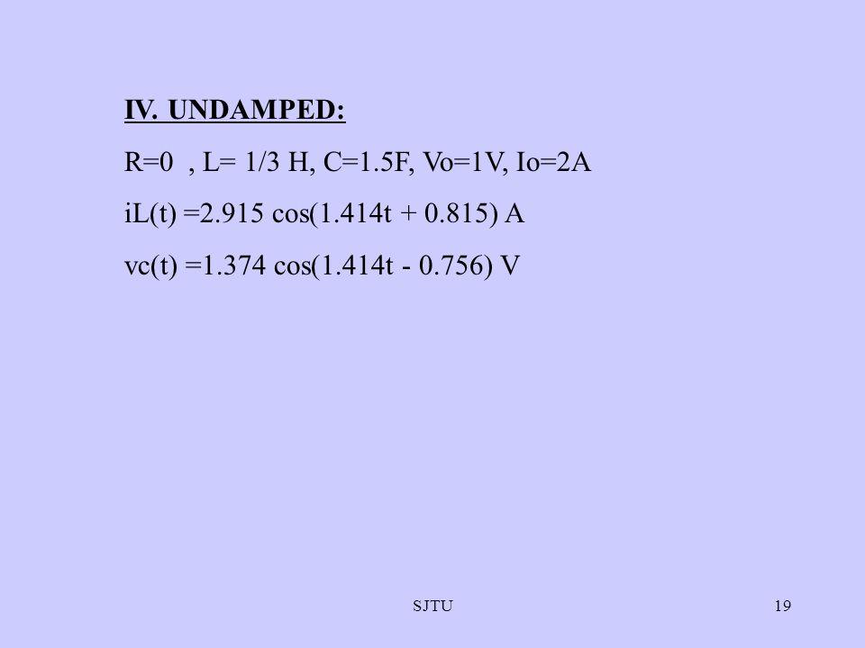 IV. UNDAMPED: R=0 , L= 1/3 H, C=1.5F, Vo=1V, Io=2A