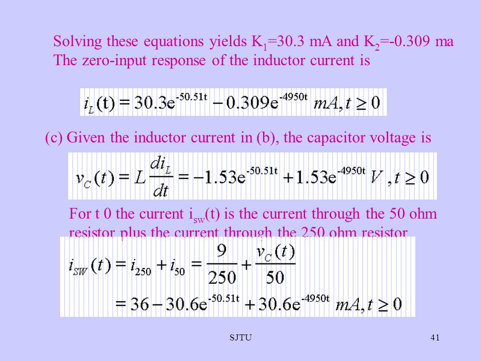 (c) Given the inductor current in (b), the capacitor voltage is