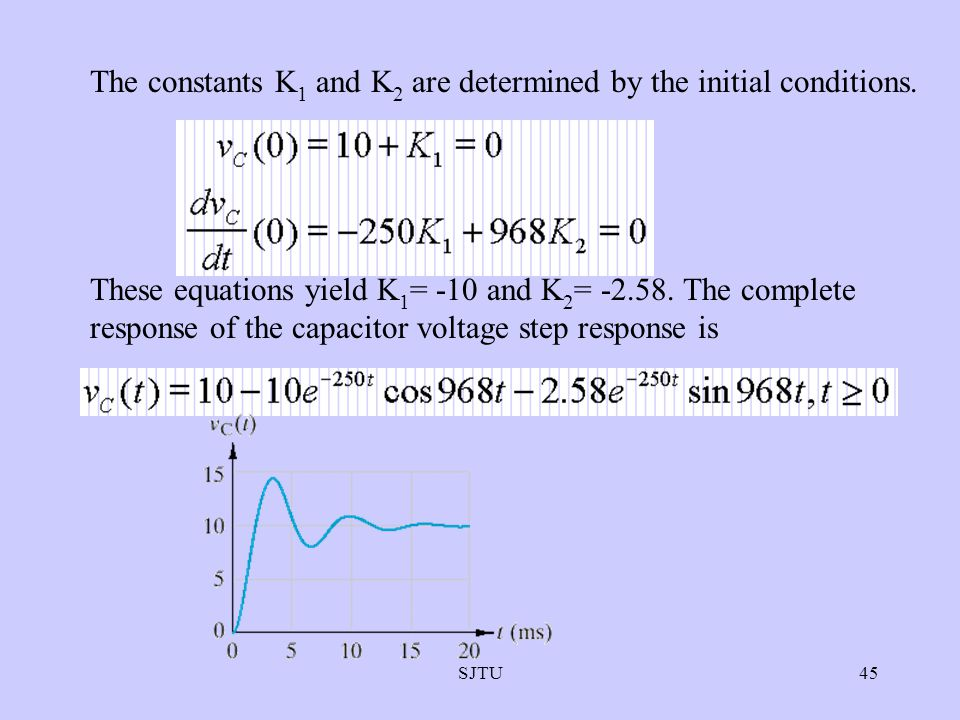 The constants K1 and K2 are determined by the initial conditions.