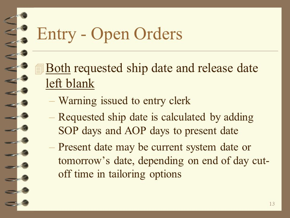 Entry - Open Orders Both requested ship date and release date left blank. Warning issued to entry clerk.