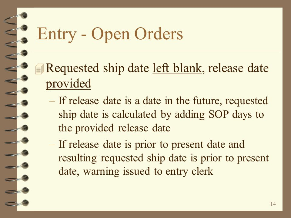 Entry - Open Orders Requested ship date left blank, release date provided.