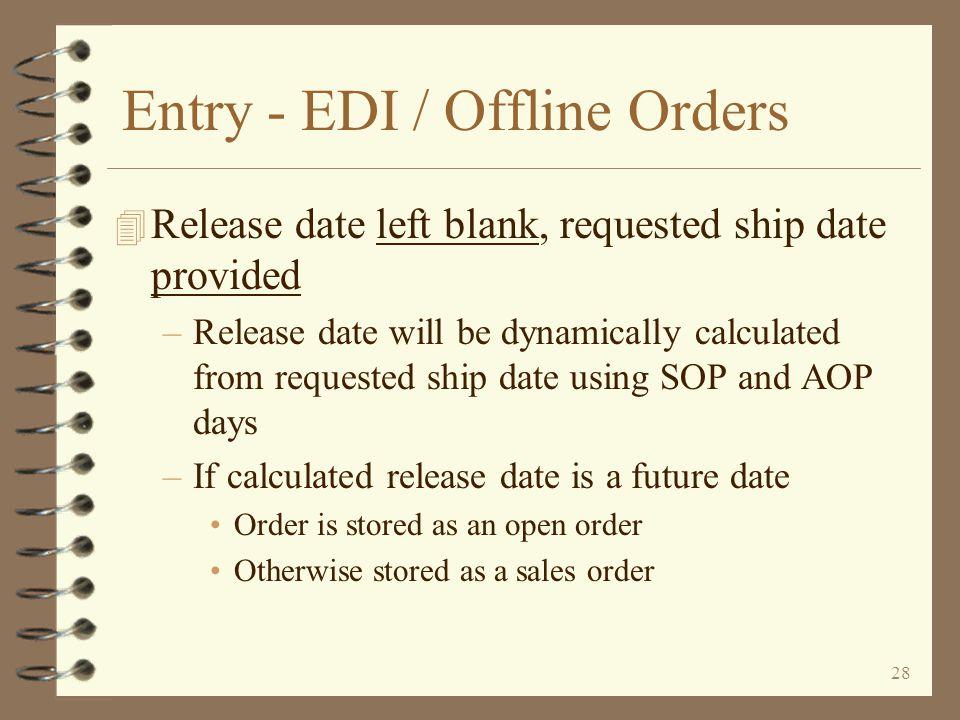 Entry - EDI / Offline Orders