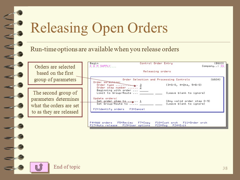 Orders are selected based on the first group of parameters