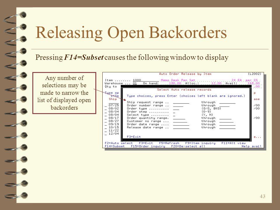 Releasing Open Backorders