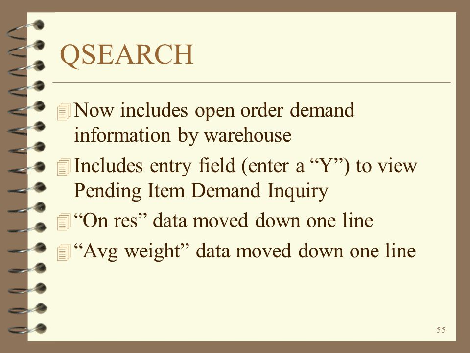 QSEARCH Now includes open order demand information by warehouse