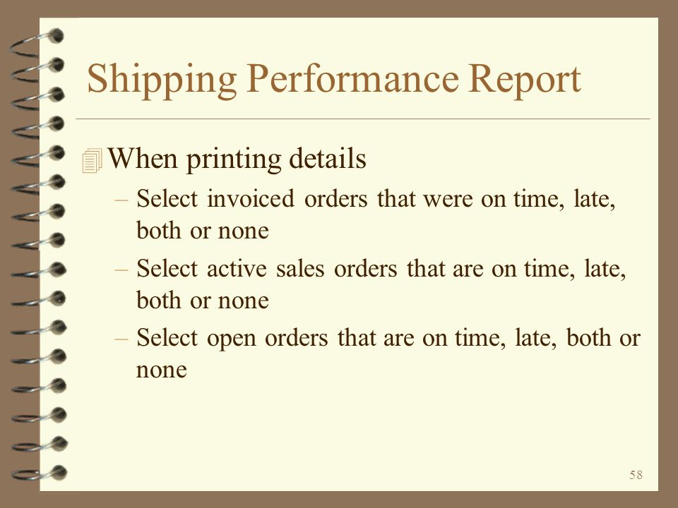 Shipping Performance Report