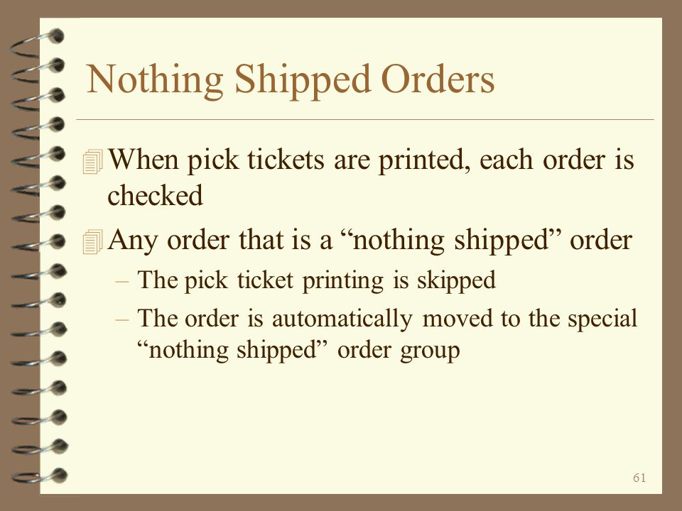 Nothing Shipped Orders