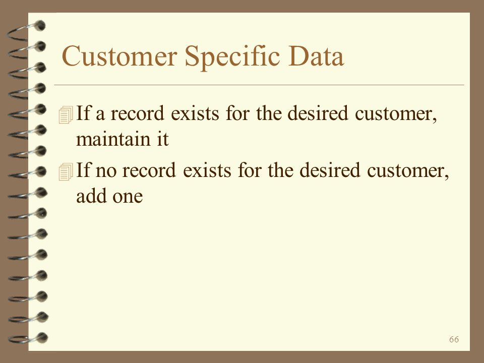 Customer Specific Data
