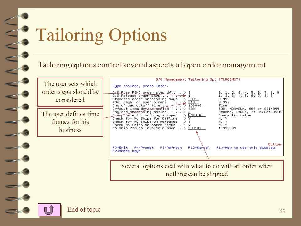 Tailoring Options Tailoring options control several aspects of open order management. The user sets which order steps should be considered.