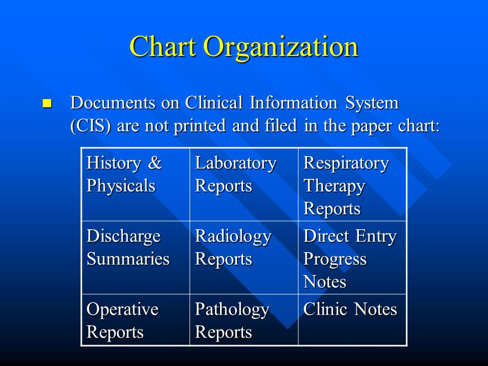 Chart Organization Documents on Clinical Information System (CIS) are not printed and filed in the paper chart: