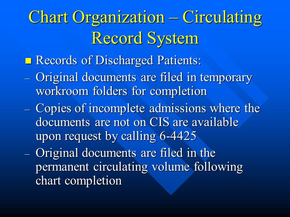 Chart Organization – Circulating Record System