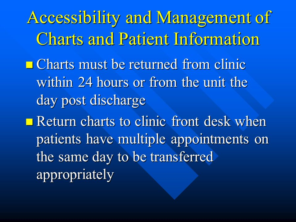 Accessibility and Management of Charts and Patient Information