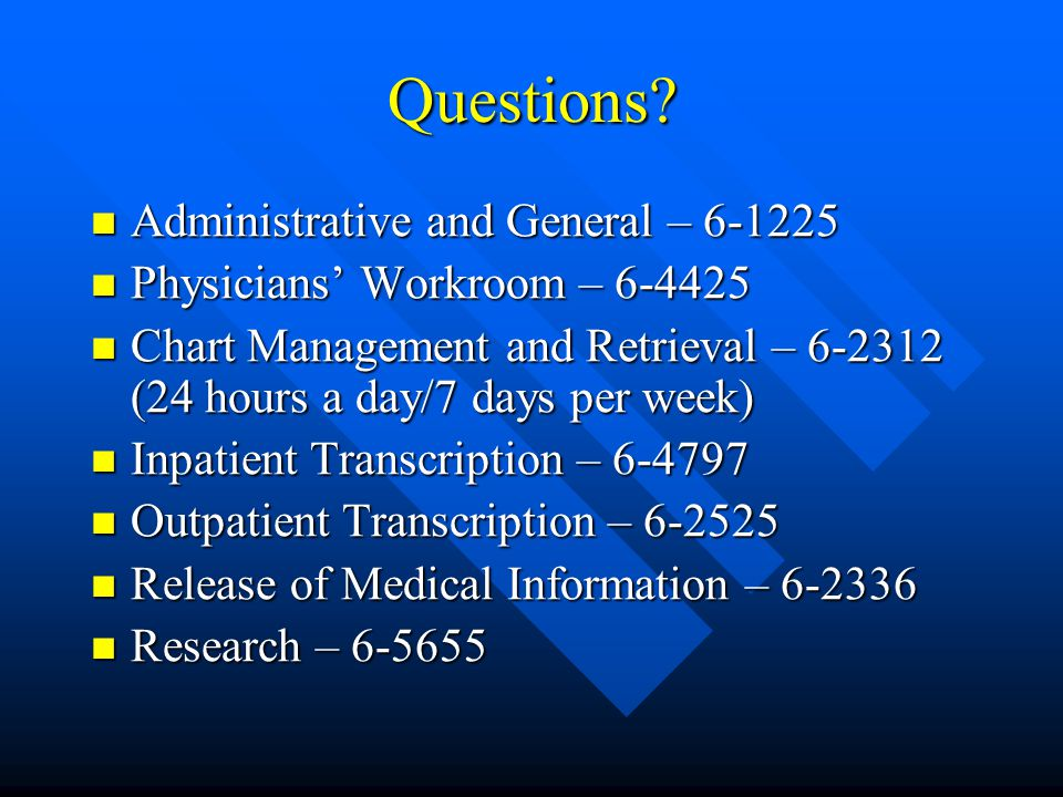 Questions Administrative and General – 6-1225
