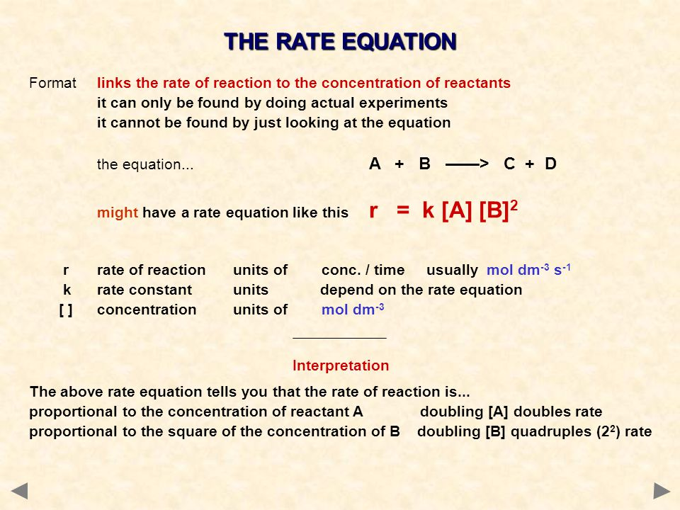 THE RATE EQUATION Format links the rate of reaction to the concentration of reactants. it can only be found by doing actual experiments.