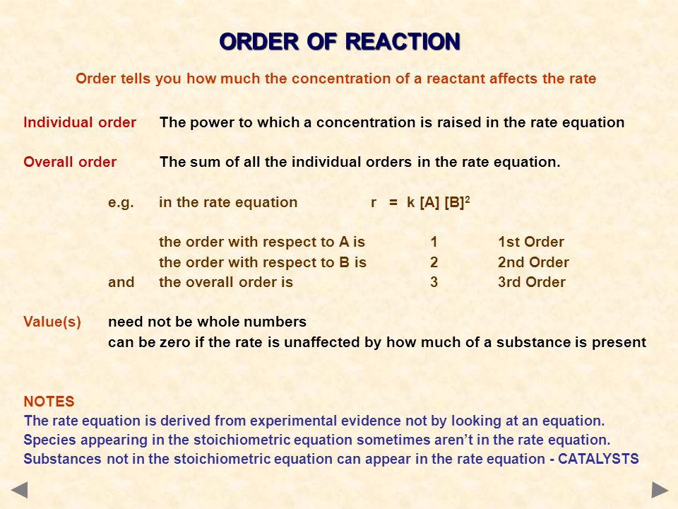 ORDER OF REACTION Order tells you how much the concentration of a reactant affects the rate.