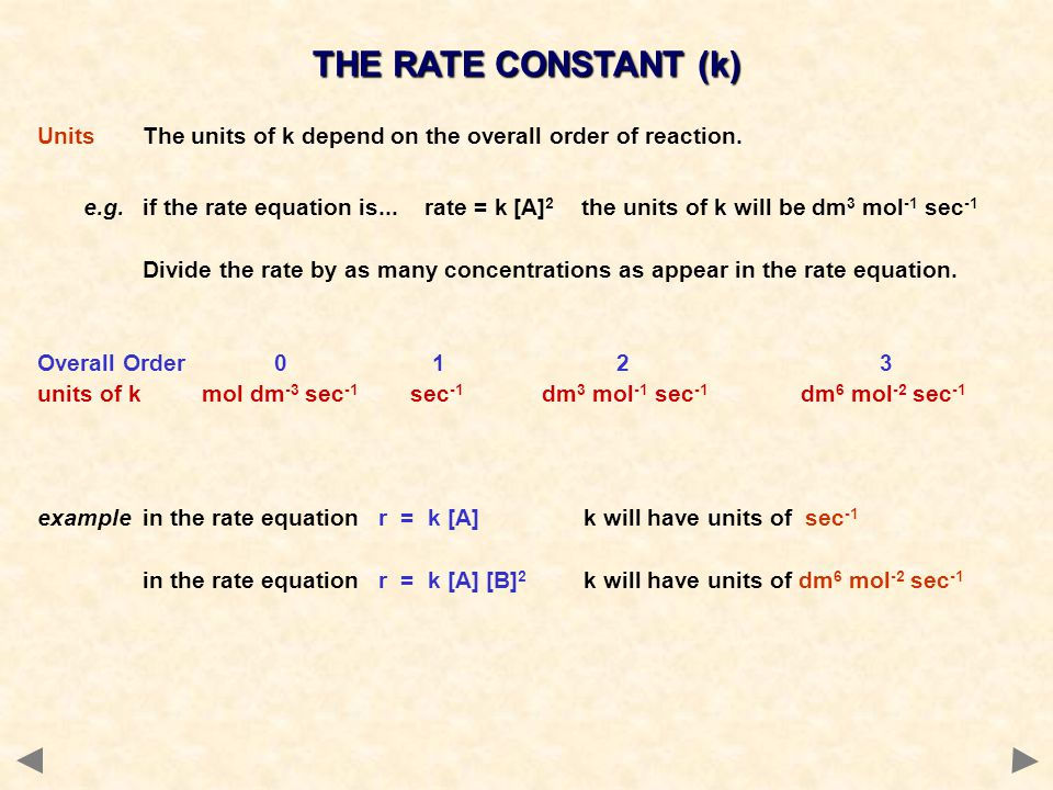 THE RATE CONSTANT (k) Units The units of k depend on the overall order of reaction.