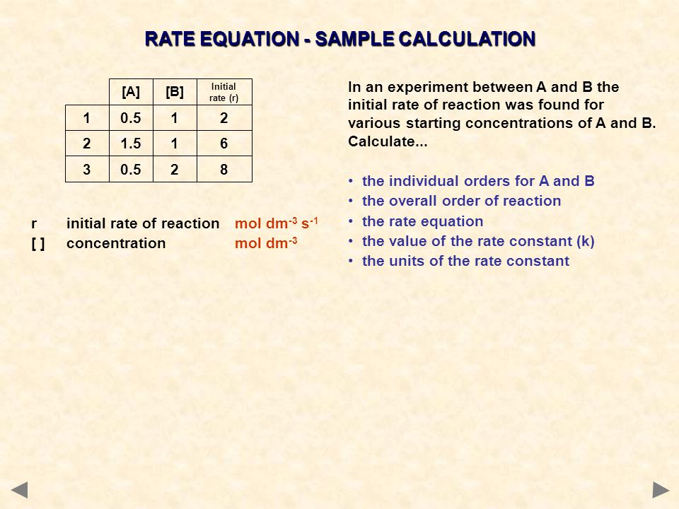 RATE EQUATION - SAMPLE CALCULATION