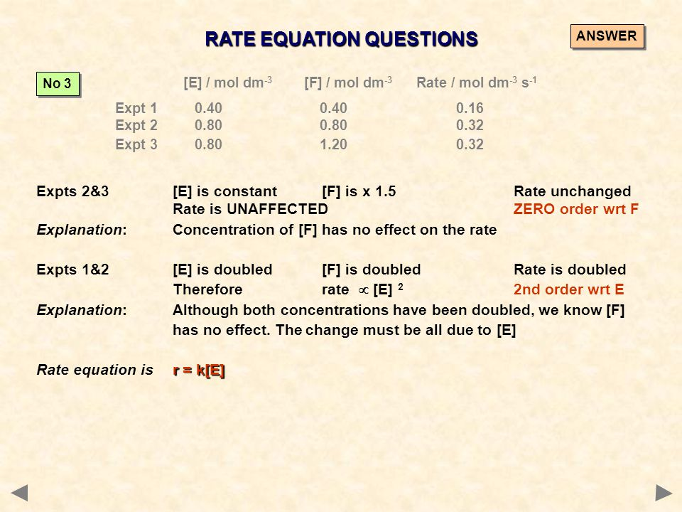 RATE EQUATION QUESTIONS