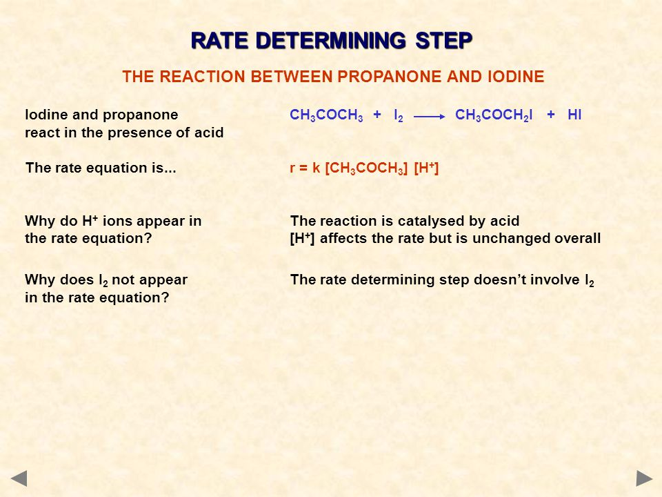 reaction between iodine and propanone coursework Reaction 82b p218 the kinetics of the reaction between iodine and propanone in acidic solution method 1 required apparatus: 8 titration flasks titrating apparatus timer pipette with its safety-filler a=60 cm3002m i2 b=30cm3 1m propanone c=30cm31m sulphuric acid d=100ml 05m nahco3 e=200ml.